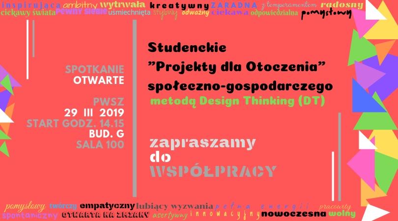 Chcesz wpisać kreatywne i innowacyjne myślenie do swojego CV?  II spotkanie otwarte Design Thinking (DT) już 29 III 2019 r.